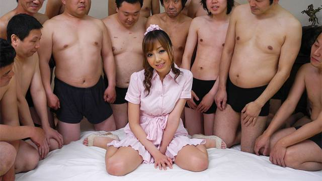 Nasty Anri Hoshizaki gets a lot of cum in gangbang