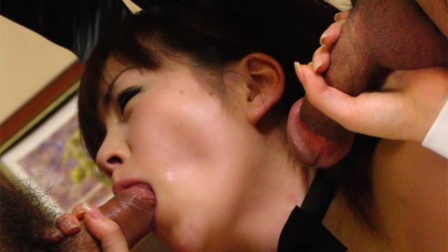 Sexy bunny Ran Monbu is strongly fucked by two men